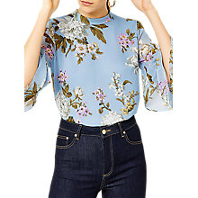 Buy Warehouse Molly Floral Print Top, Blue/Multi Online at johnlewis.com