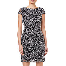 Buy Adrianna Papell Corded Lace Dress, Black/White Online at johnlewis.com