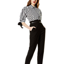 Buy Karen Millen Striped Balloon Sleeve Shirt, Black/White Online at johnlewis.com
