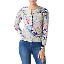 Buy Pure Collection Printed Cashmere Cardigan, Digital Floral Online at johnlewis.com