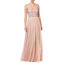 Buy Adrianna Papell Long Beaded Dress, Blush Online at johnlewis.com