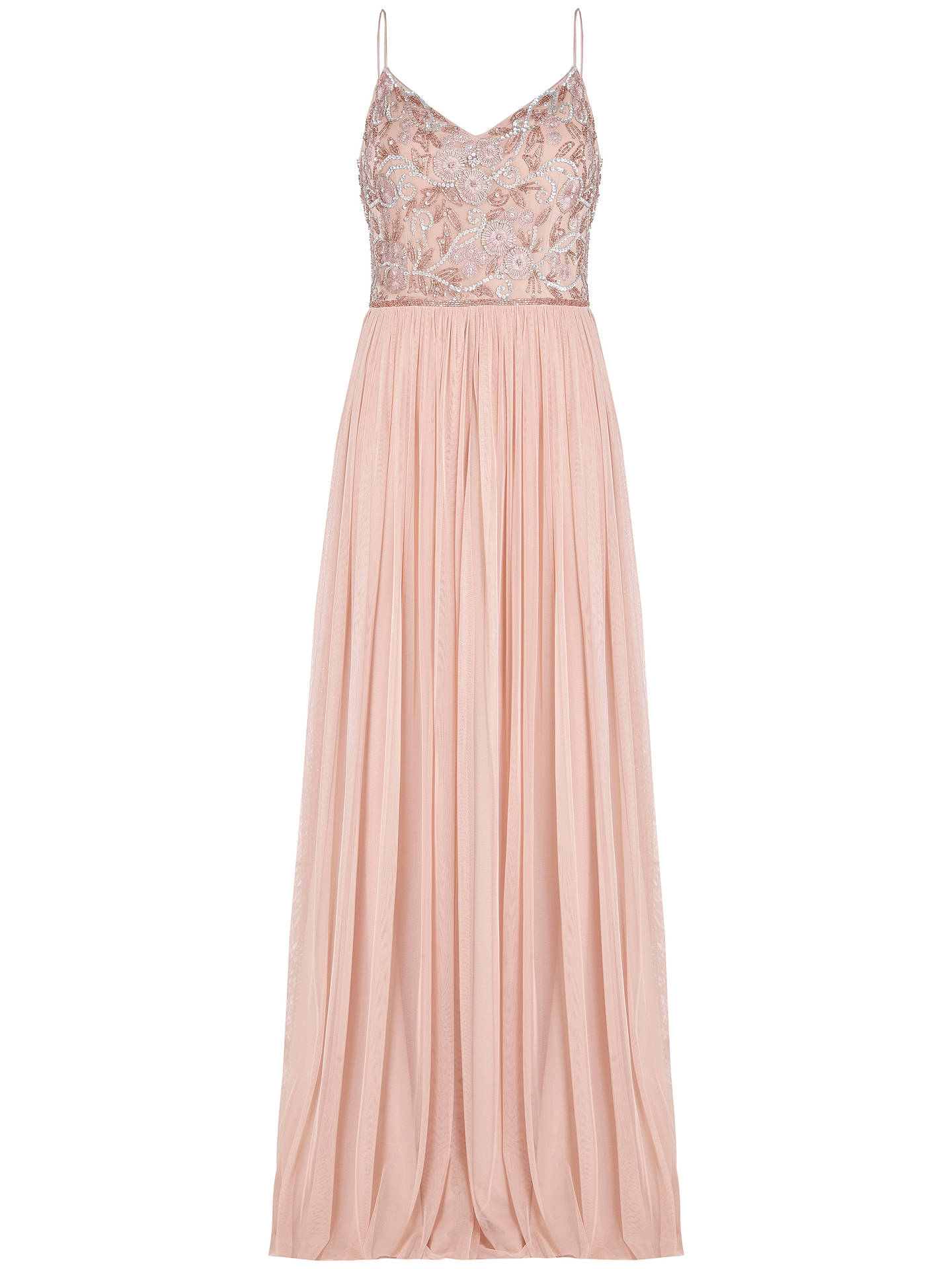 Buy Adrianna Papell Long Beaded Dress, Blush, 6 Online at johnlewis.com
