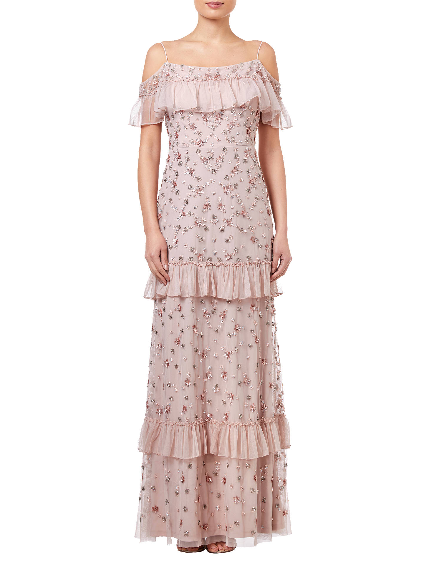 Buy Adrianna Papell Beaded Long Dress, Blush, 8 Online at johnlewis.com