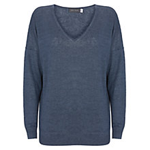 Buy Mint Velvet Linen V-Neck Jumper, Dark Blue Online at johnlewis.com