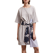 Buy French Connection Ono Tie Jersey Dress, Light Grey Marl/Multi Online at johnlewis.com