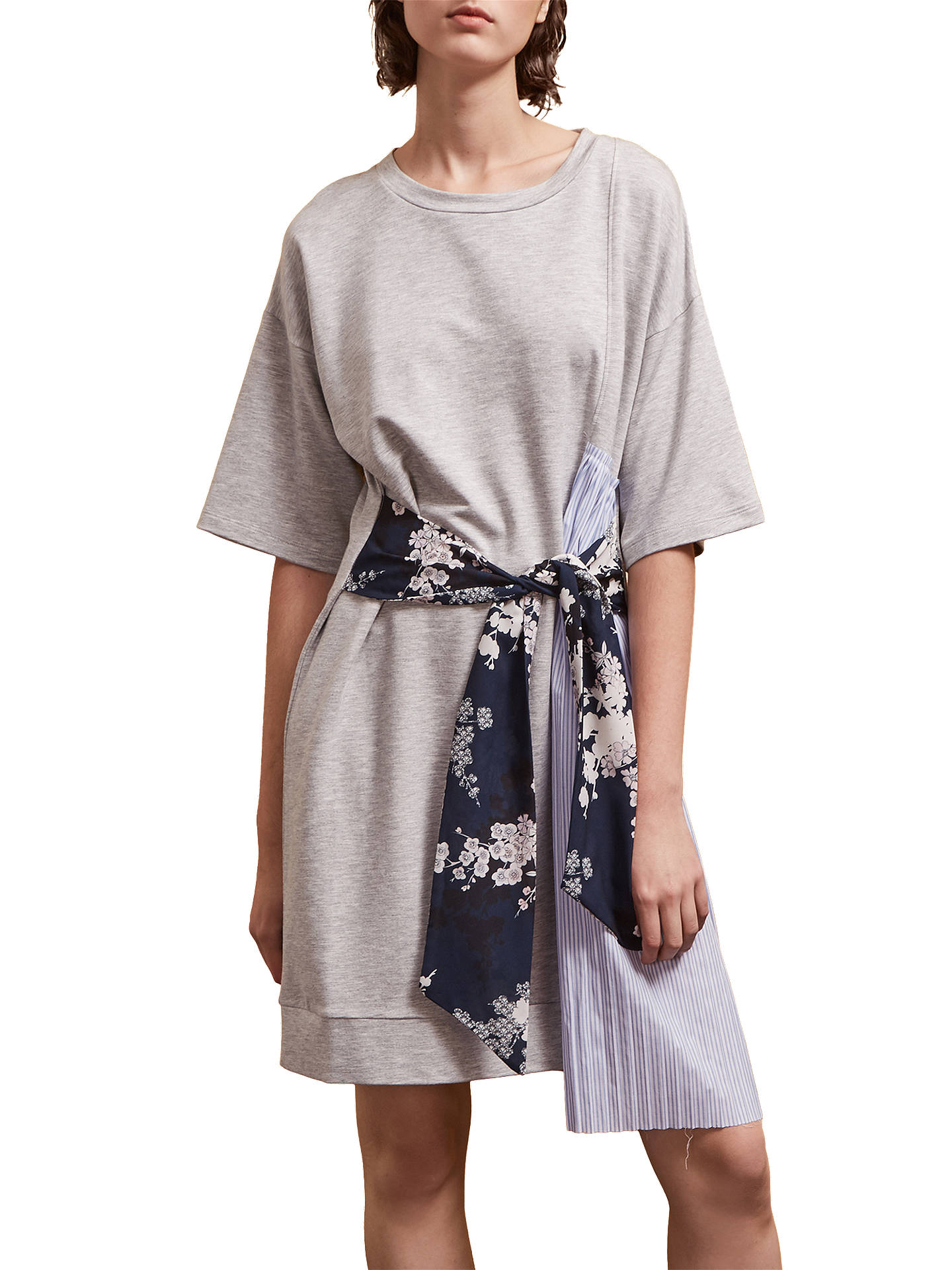 10f857e53f5cdc Buy French Connection Ono Tie Jersey Dress, Light Grey Marl/Multi, 6 Online  ...