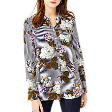 Buy Warehouse Molly Floral Long Sleeved Shirt, Neutral Stripe Online at johnlewis.com