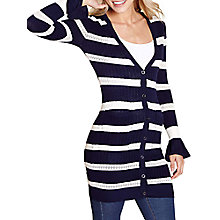 Buy Yumi Longline Pointelle Cardigan, Navy/White Online at johnlewis.com