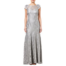 Buy Adrianna Papell Long Metallic Lace Dress, Silver Slate Online at johnlewis.com