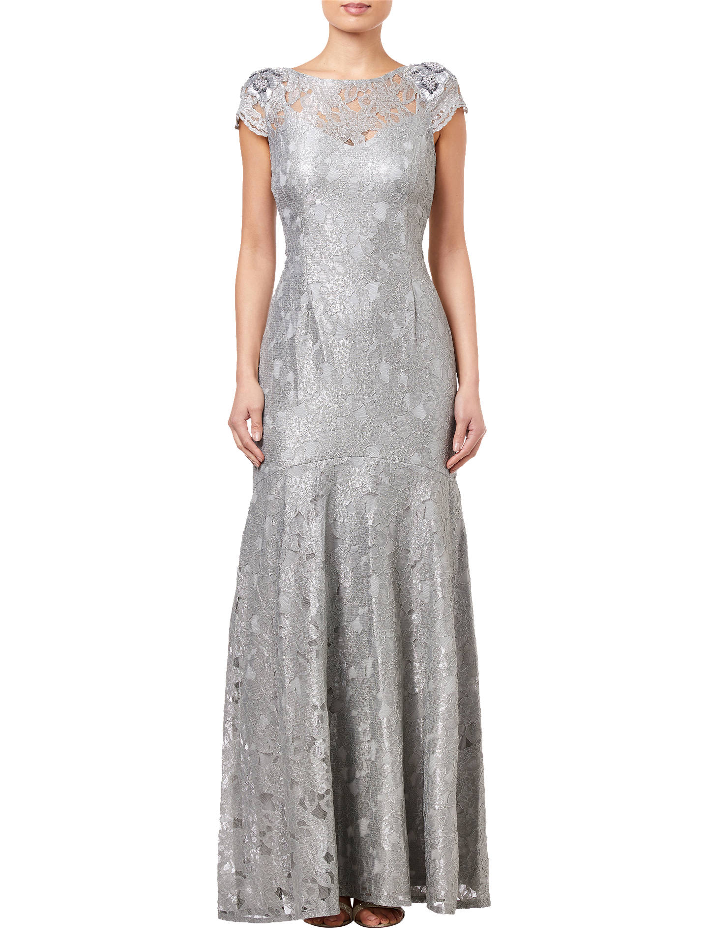 Buy Adrianna Papell Long Metallic Lace Dress, Silver Slate, 8 Online at johnlewis.com