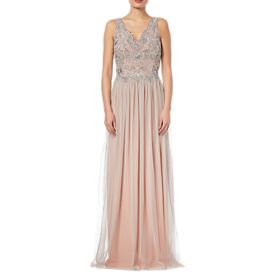 Adrianna Papell Beaded Bridesmaid Dress,Silver/Nude