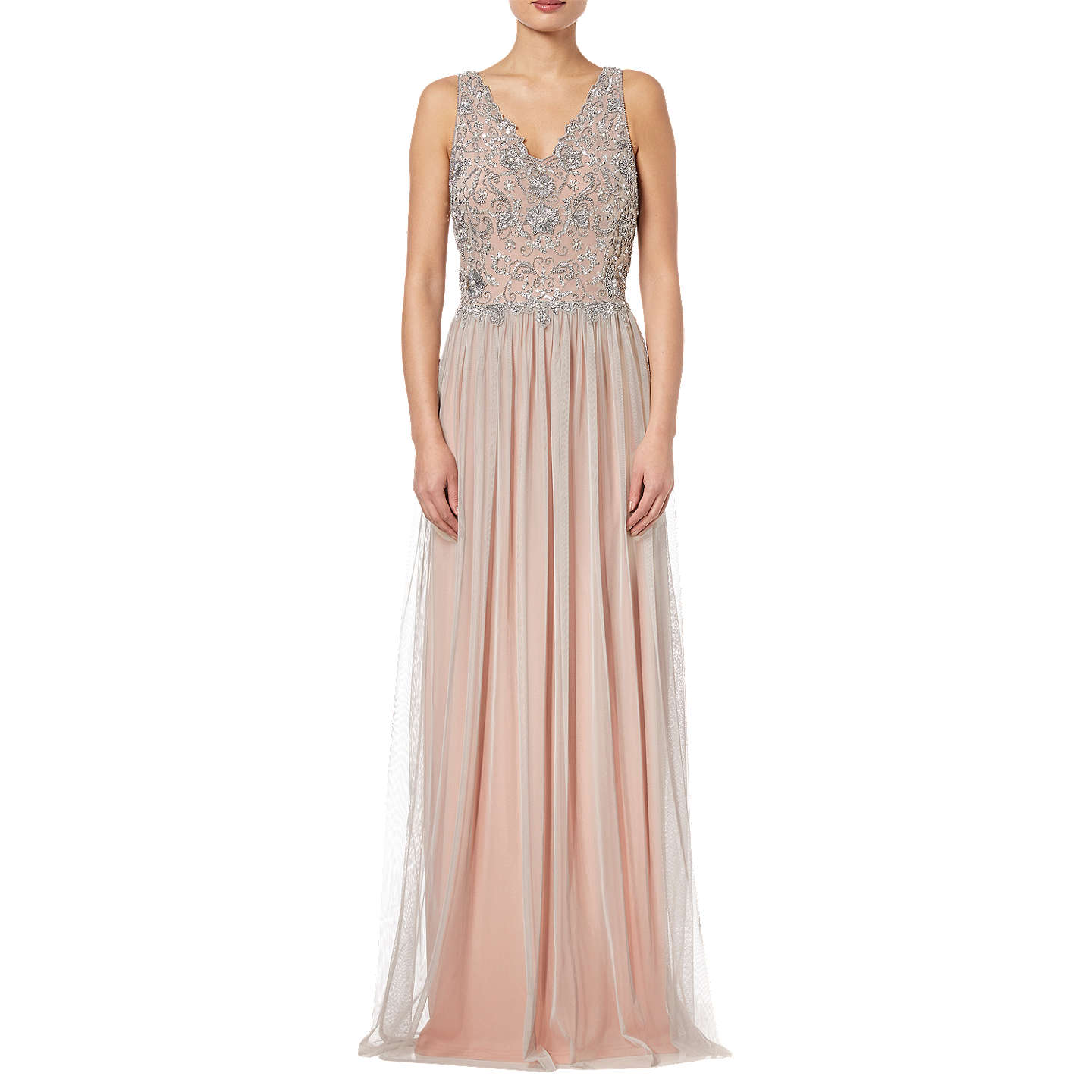Adrianna Papell Wedding Gowns: Adrianna Papell Beaded Bridesmaid Dress,Silver/Nude At