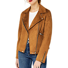 Buy Warehouse Suedette Biker Jacket, Tan Online at johnlewis.com