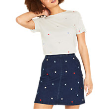Buy Oasis Glitter Star Print T-Shirt, White Online at johnlewis.com