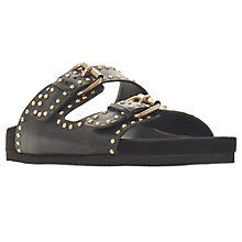 Buy Dune Lakes Embellished Leather Slider Sandals, Black Online at johnlewis.com