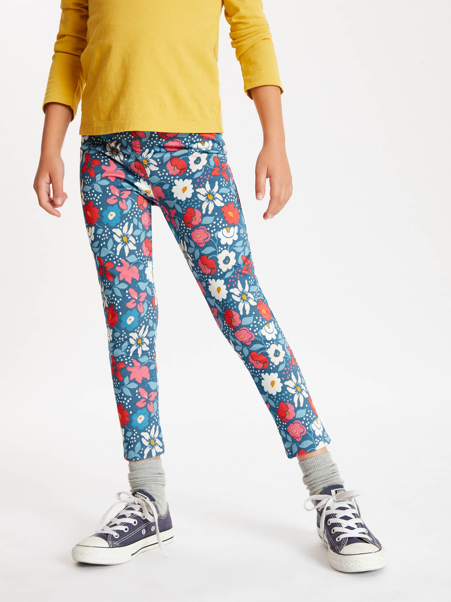 BuyJohn Lewis & Partners Girls' Floral Print Leggings, Teal, 8 years Online at johnlewis.com