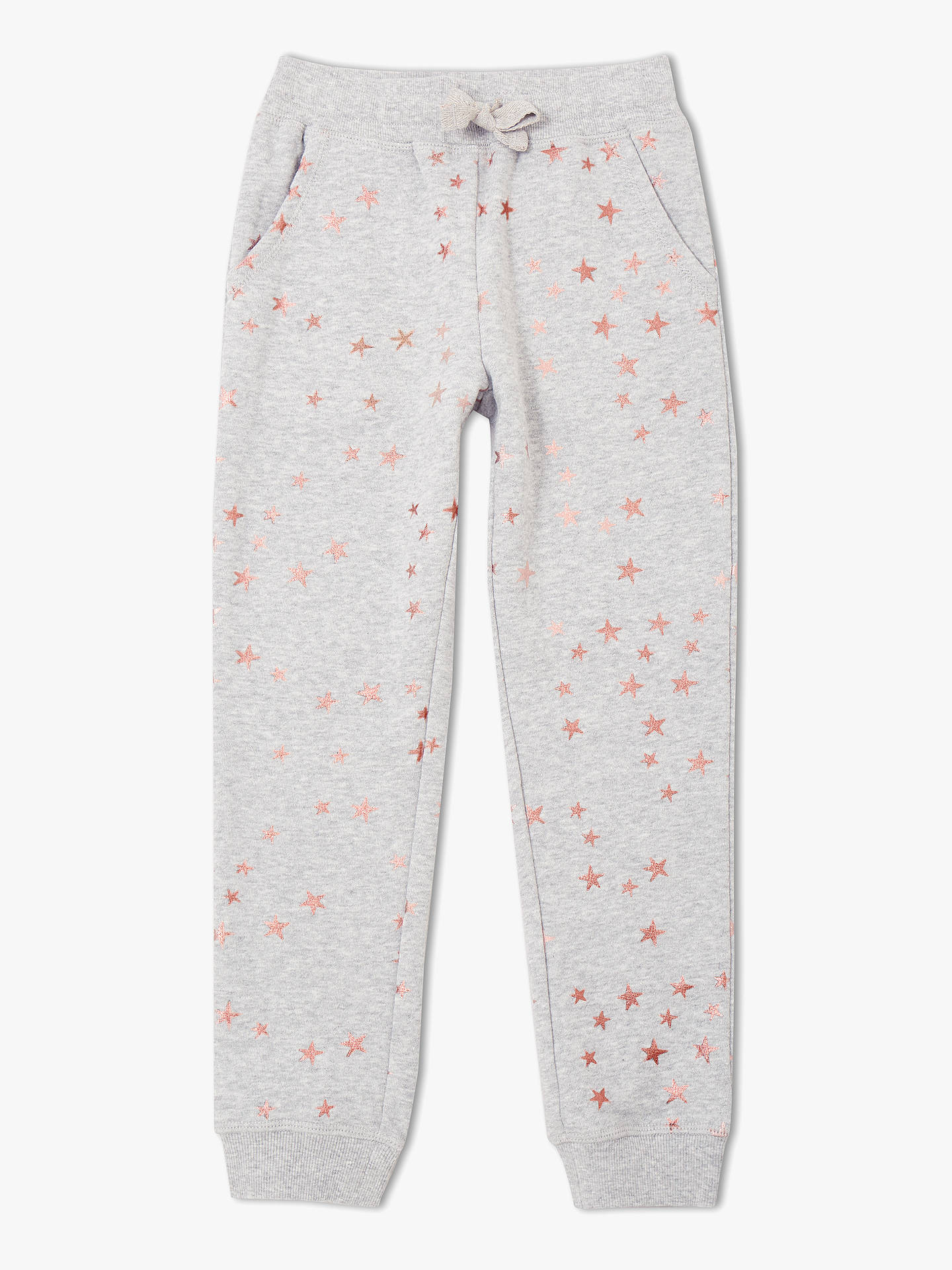 Buy John Lewis & Partners Girls' Star Print Joggers, Grey, 2 years Online at johnlewis.com