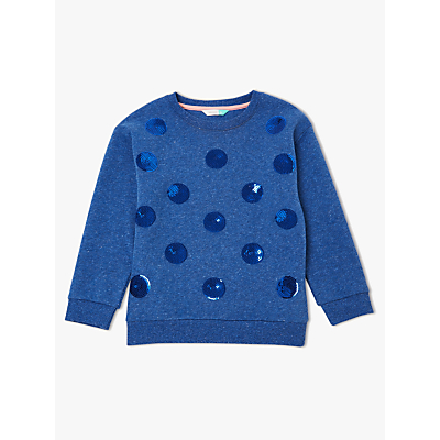 Image of John Lewis & Partners Girls' Sequin Spot Sweatshirt, Blue