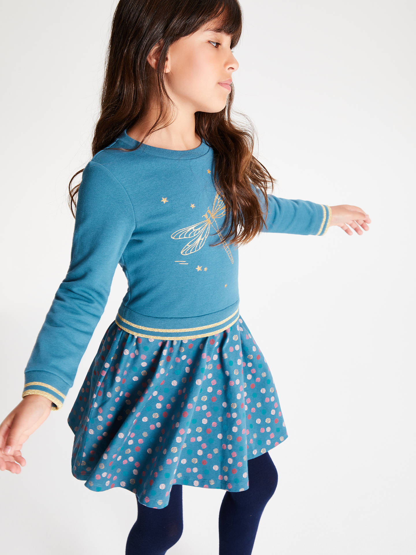 Buy John Lewis & Partners Girls' Dragonfly Dress, Blue, 9 years Online at johnlewis.com