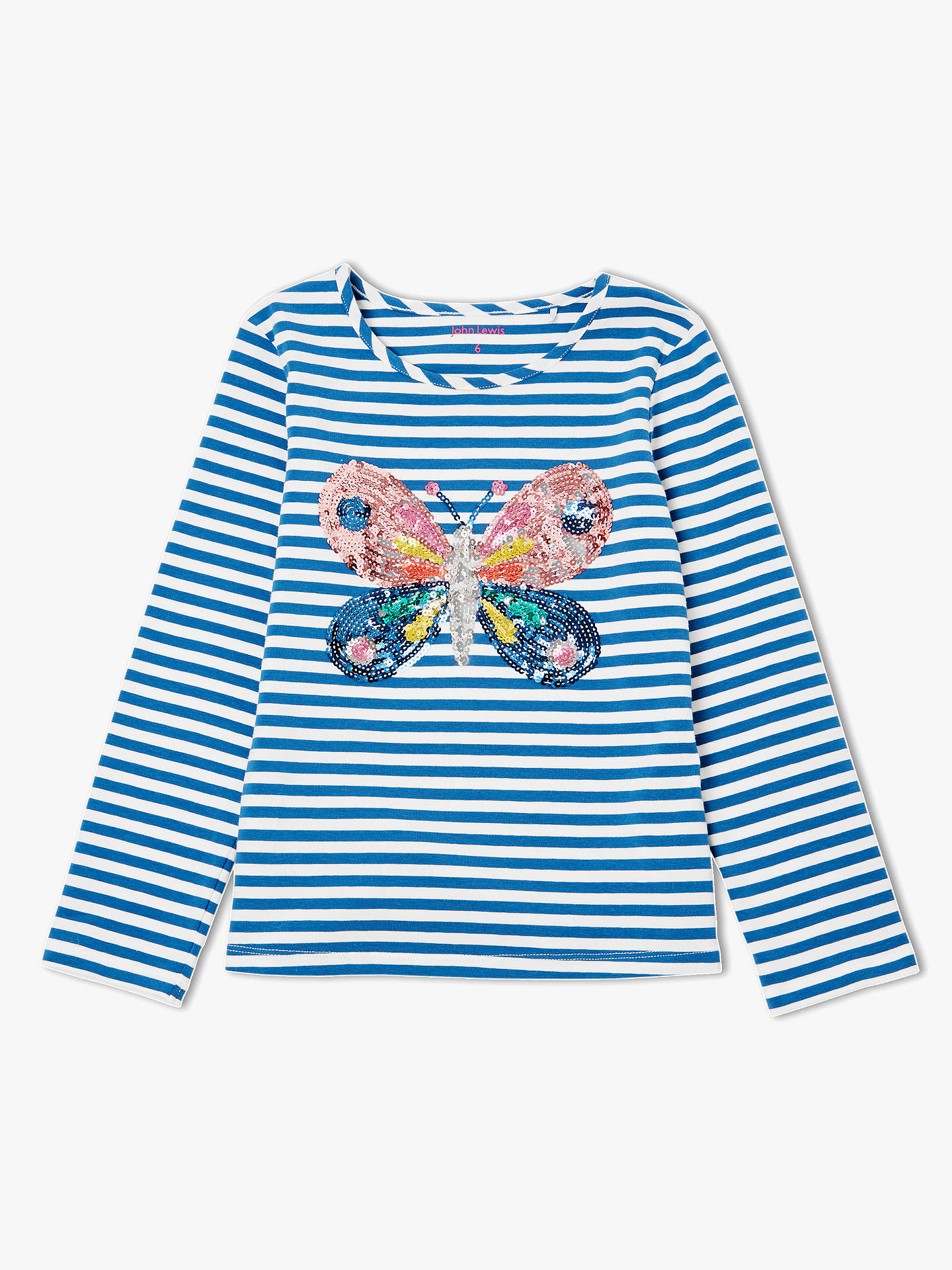b9d2cc16 Buy John Lewis & Partners Girls' Glitter Stripe Butterfly T-Shirt, Blue, ...