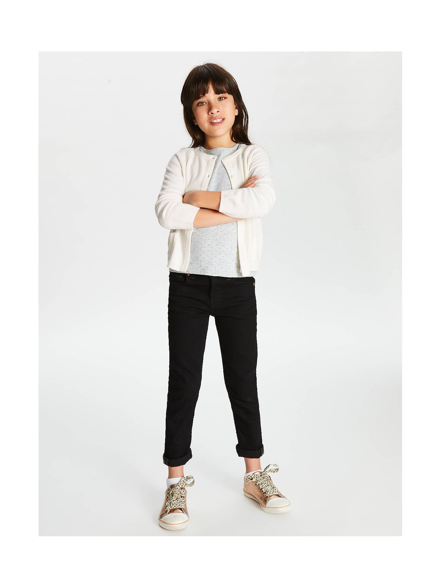 Buy John Lewis & Partners Girls' Plain Cardigan, Cream, 2 years Online at johnlewis.com