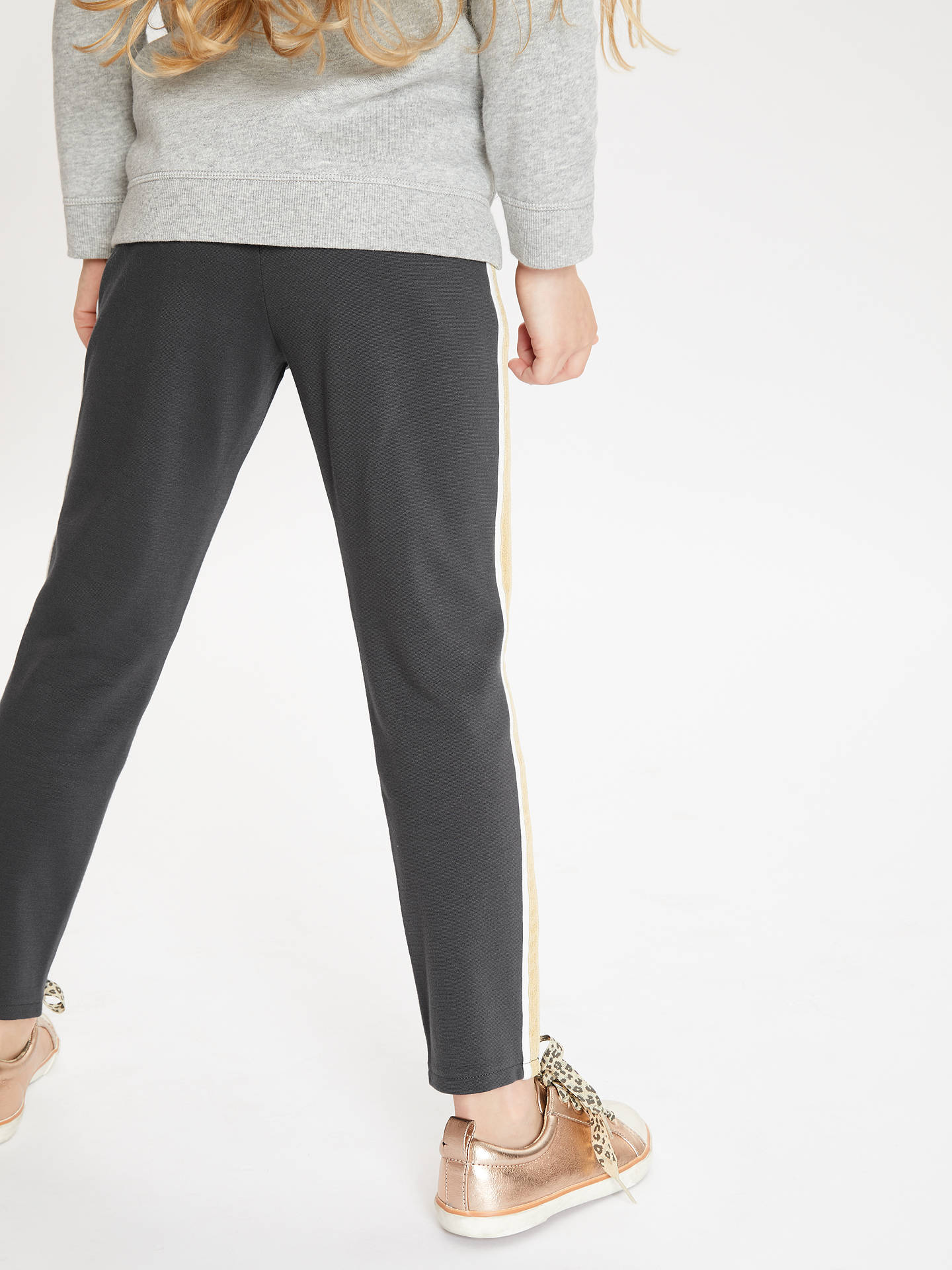 Buy John Lewis & Partners Girls' Side Stripe Print Leggings, Charcoal, 8 years Online at johnlewis.com
