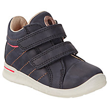 Buy ECCO Children's Leather Rip-Tape Logo First Shoes, Midnight Online at johnlewis.com