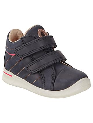 ECCO Children's Leather Riptape Logo First Shoes, Midnight