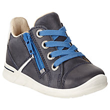Buy ECCO Children's Leather Lace and Zip Fastening First Shoes, Marine Blue Online at johnlewis.com