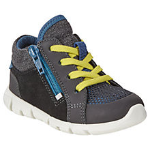 Buy ECCO Children's Leather Lace and Zip Intrinsic Mini Shoes, Black Online at johnlewis.com