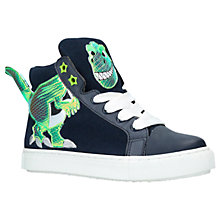 Buy Mini Miss KG Dylan Dino Hi-Top Trainers, Navy Online at johnlewis.com