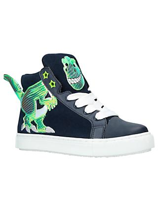 Kurt Geiger London Children's Dylan Dino Hi-Top Trainers, Navy