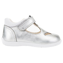 Buy Geox Children's Kaytan Riptape Mary Jane First Shoes, Silver Online at johnlewis.com