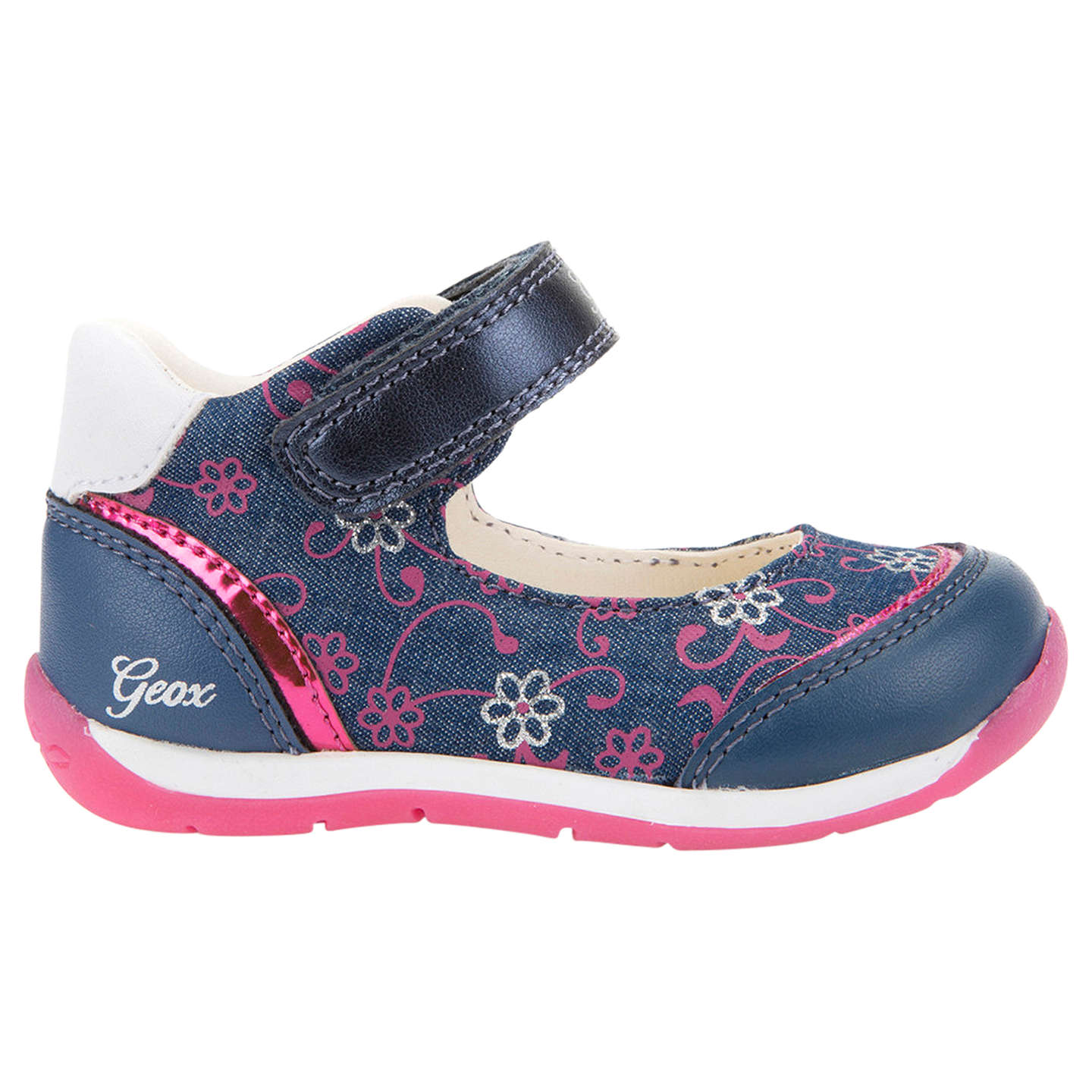 Geox Children s Beach Riptape Shoes Navy Pink at John Lewis