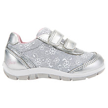 Buy Geox Children's Shaax Floral Rip-Tape Casual Shoes, Silver Online at johnlewis.com