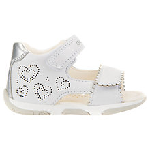 Buy Geox Children's Tapuz Riptape Sandals, White/Silver Online at johnlewis.com