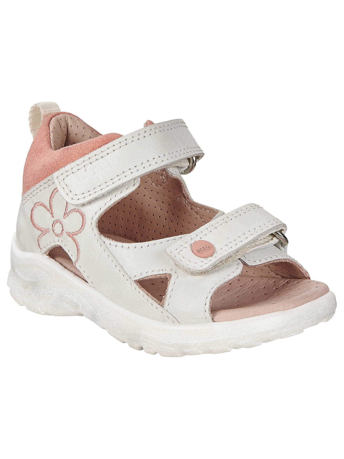 9bb08812518d3 Buy ECCO Peekaboo Leather Sandals, White/Pink, 20 Online at johnlewis.com  ...