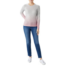 Buy Pure Collection Dip Dye Cashmere Crew Neck Jumper, Pink/Multi Online at johnlewis.com