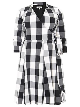 Studio 8 Alice Gingham Dress, Black/White