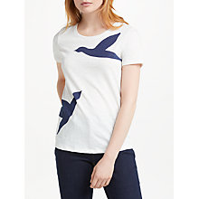 Buy Boden Printed Crew Neck T-Shirt, Ivory/Birds Online at johnlewis.com