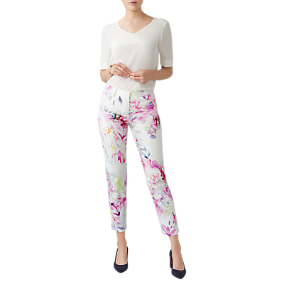 Pure Collection Floral Digital Print Capri Trousers, Soft White/Multi