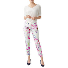 Buy Pure Collection Floral Digital Print Capri Trousers, Soft White/Multi Online at johnlewis.com