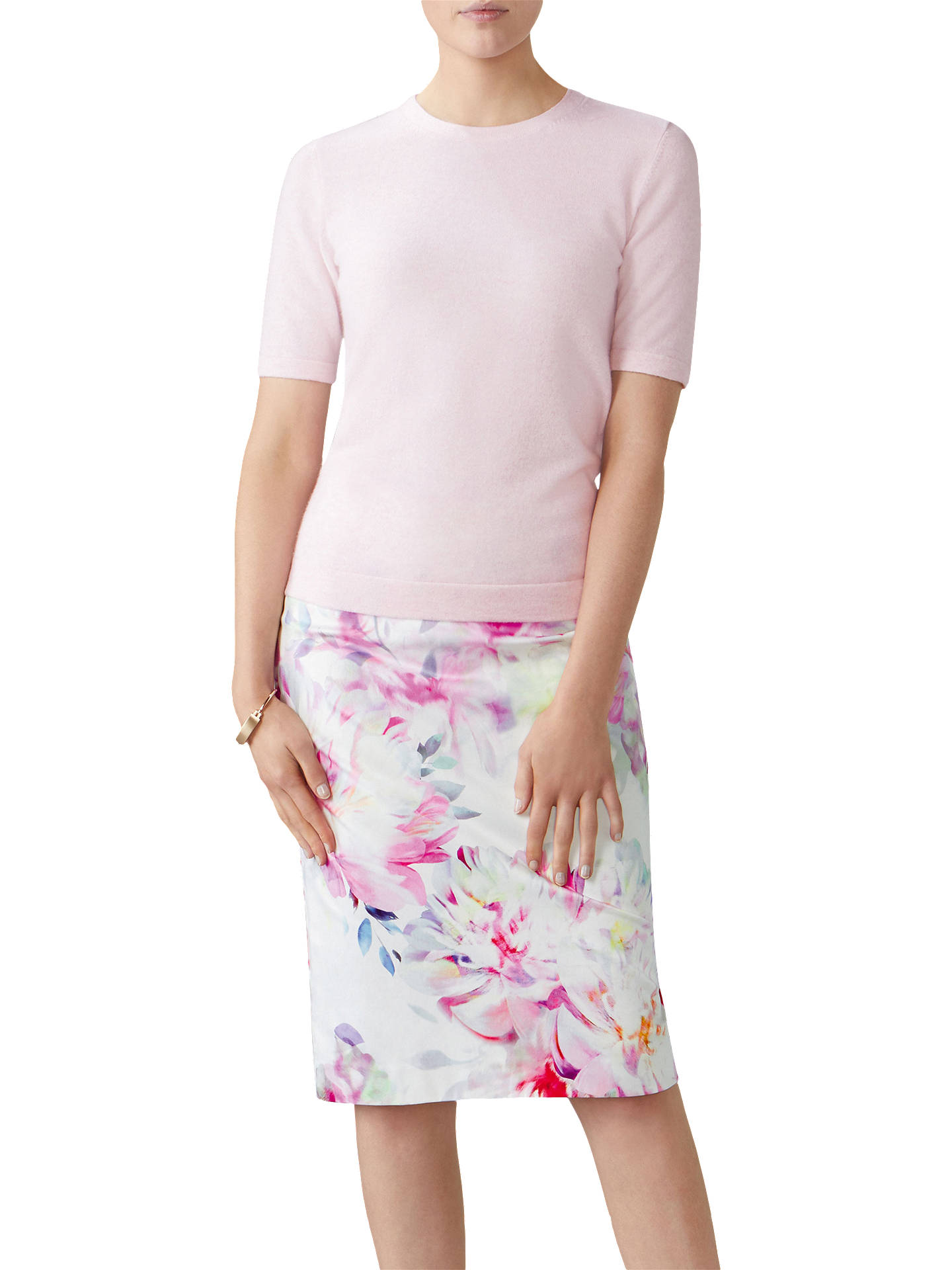 5699fa9fe9 Buy Pure Collection Floral Digital Print Pencil Skirt, Off White/Multi, 8  Online ...