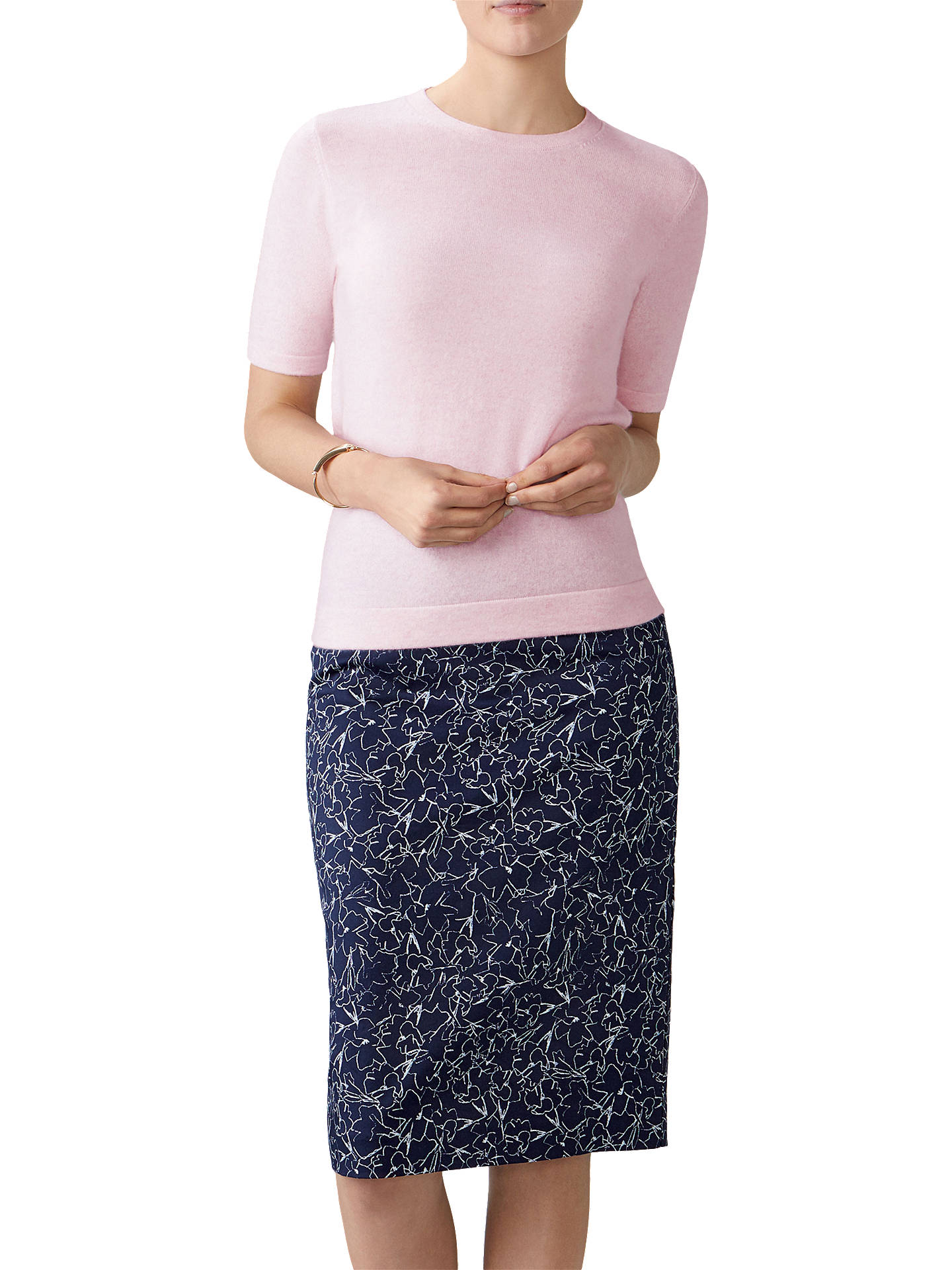 bb39862c30 Buy Pure Collection Floral Print Pencil Skirt, Navy, 8 Online at  johnlewis.com ...