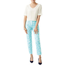 Buy Pure Collection Turquoise Leaf Capri Trousers Online at johnlewis.com