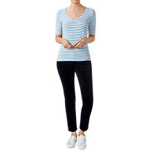 Buy Pure Collection Jersey V-Neck Top, Blue/White Online at johnlewis.com