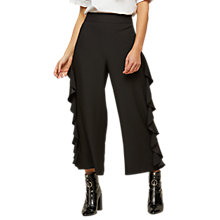 Buy Miss Selfridge Cropped Ruffle Trousers, Black Online at johnlewis.com