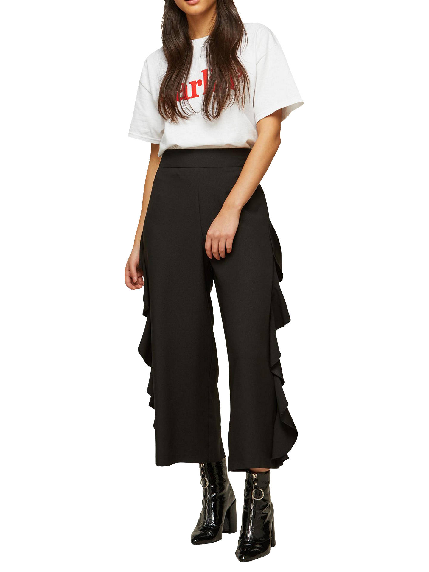 BuyMiss Selfridge Cropped Ruffle Trousers, Black, 6 Online at johnlewis.com