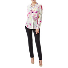 Buy Pure Collection Floral Relaxed Washed Silk Blouse, White/Multi Online at johnlewis.com