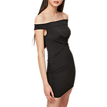 Buy Miss Selfridge Bardot Twist Bodycon Dress, Black Online at johnlewis.com